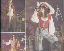 Simplicity 3677 Misses Victorian Steampunk Pirate Costume Pantaloons Vest Coat Shirt UNCUT