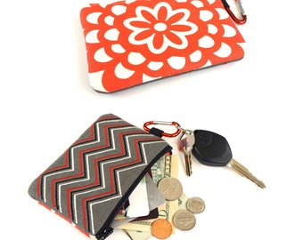 Coin purse / zipper pouch / card holder / Mini zip bag in Zigzag Stripe Red / Black and White / Made to order