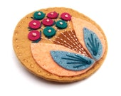 BLOOM felt brooch pin with freeform embroidery - scandinavian style