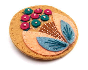 HALF PRICE SALE Bloom felt brooch pin with freeform embroidery - scandinavian style