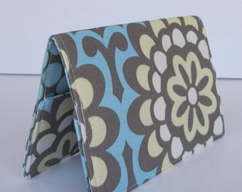 Passport Cover Case Travel Holder - Blue Wall Flower Fabric