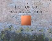 "Copper Jewelry Findings Pendants or Earring Blanks Lot of 20 (3/4"" x 3/4"") 16oz. 22 Gauge Solid Copper"