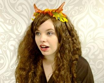 Autumn Horned Headdress, Horned Satyr Headdress, Autumn Headpiece, Autumn Fairy, Fall leaves, Burningman, Cosplay, Mori-Kei, Ready to Ship