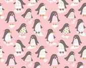 Penguin Parade Pink by Maude Asbury  - The Snow Day Collection - Blend Fabrics - 1 -  One Yard Fabric