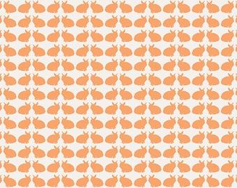ON SALE Curious Bunnies Fun - Tangerine Orange - Curiosities by Jeni Baker Art Gallery Fabrics - Premium Quilting Cotton Fabric - One Yard