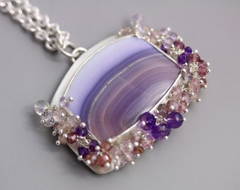 Amethyst Agate Necklace with Gemstone Fringe . Statement Necklace . Sterling Silver Necklace.