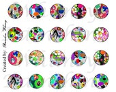 Digital Collage Sheet 1 inch Circles 25 mm Abstract Romance Bottle Cap Jewelry Magnets Cards Colorful Instant Download 30 Images Rounds