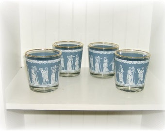 Vintage Blue Wedgwood Glasses, High Ball Cocktail Glasses Set of 4