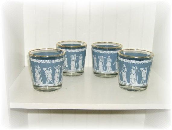 Vintage Blue Wedgwood Glasses, Set of 4