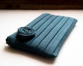 Bridesmaid Gift Idea Clutch, Wedding Clutch Purse, Blue Grey Gray, Pleated Clutch, Romatic Rose