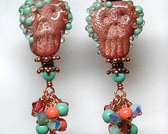 TeRRaCoTTA TuRQuoiSe and CoRaL SkuLLS Handmade Lampwork Art Glass Earrings by GLiTTeRBuG ORiGiNaLS SRAJD