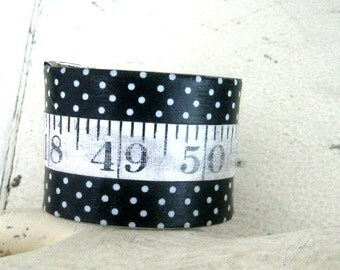 Vintage tape measure Cuff Bracelet numbers prim rustic metal handmade artisian recycle repurposed