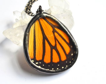 Real Monarch Butterfly Wing Necklace. Preserved Butterfly Pendant. Orange and Black Butterfly Jewelry. Mother's Day Gift. Boho Chic Jewelry.