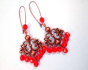 Chandelier Earrings, Hyacinth Orange and Copper Dangle Earrings, FREE Shipping U.S.