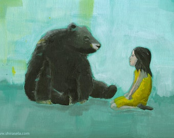 Curiosity - Giclee print of an original painting art reproduction children nursery art decor poster girl and black bear