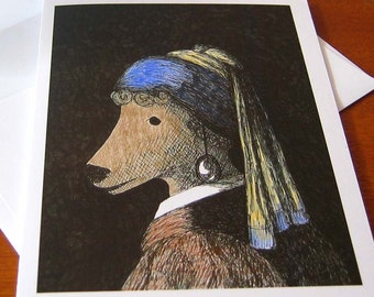 Poodle with a Pearl Earring - Humorous Greeting Card