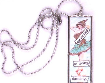 Collage Necklace, Soldered Pendant, Soldered Necklace, Dance theme, BFF Gift, Teacher gift, Microscope Slide Necklace