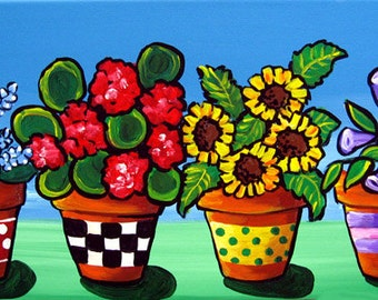 COLORFUL FLOWERS FLORAL 4 Pots Whimsical Fun  Original Folk Art Painting