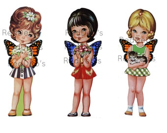 Dolls with Wings Printable Collage Sheet