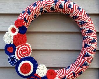 4th of July Wreath - July 4th Wreath - Patriotic Wreath - American Flag Wreath - Independence Day Wreath - Americana Wreath - Star Wreath