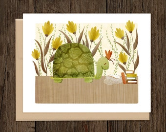 ON SALE Bookish Forest Turtle Blank Note Card