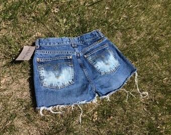 """Cut Off Blue Jeans, Handmade Custom Bleached Shorts, 27"""" Waist"""