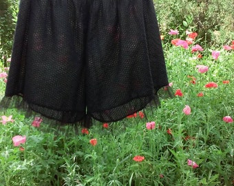 Women's black sleep shorts -- Pirate Bloomers -- Lacy Pj Shorts -- mini bloomers -- Plus Size -- custom clothing -- gothic - steampunk --