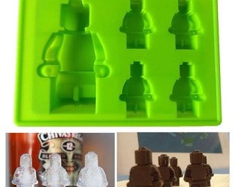 1 Lego Molds Minifigs Minifigures Robots Idea Sheet included Ice Cube Tray Gummies Chocolate Candy Silicon