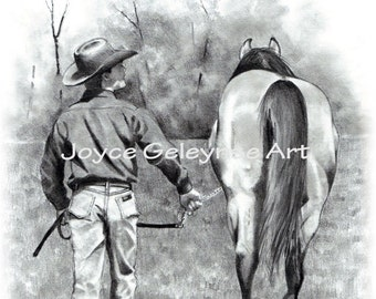 Cowboy Walking with Horse, Horse Trainer,  Realism Pencil Drawing, Western Art, Equine Art, Instant Download Print Your Own: WHOA Team