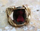 Large Oval Garnet Unisex 14kt Gold Filled Wirewrapped Ring, sz 9-1/2