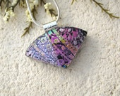 Petite Pink Purple Necklace, Dichroic Jewelry, Wedge Necklace, Dichroic  Pendant, Fused Glass Jewelry, Glass Jewelry,  070115p109