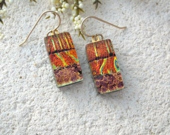 Golden Copper Red Earrings, Dangle Drop Earrings, Dichroic Earrings, Fused Glass Jewelry, Gold Earrings, Gold Filled Earrings,  052715e100