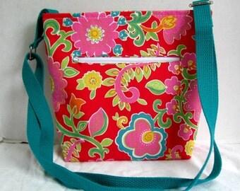 Cross Body Purse Bright Floral - Floral Hip Bag - Outside Pocket Sling Bag - Long Adjustable Strap - Pink Floral Over the Shoulder Tote