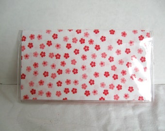 Checkbook Cover Tiny Flowers Pink  - Pink Cash Holder - Works with Duplicate Checks - Floral Checkbook Holder - Small Pink Flowers Vinyl