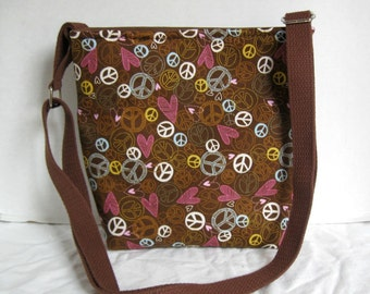 Peace Signs Cross Body Purse - Brown Hip Bag - Peace and Love Sling Bag - Long Adjustable Strap - Over the Shoulder Tote - Hippie Purse