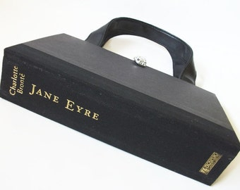 Book Purse Charlotte Bronte Jane Eyre Novel Handbag, Book Bag, Black Clutch