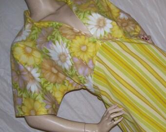 Daisy Picnic Dress Yellow Floral Stripe OOAK Hippie A Line Farmers Market Rockabilly Maternity Dress Lounge Adult M - Plus