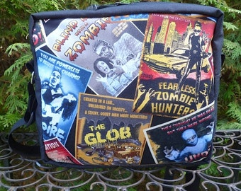 Horror Movie Posters shoulder bag, zippered cross body bag, cross body bag with pockets, The Raccoon Plus