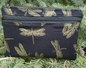 Dragonfly mini wallet, optional wristlet, shoulder strap or belt bag, iPhone 6 Plus wallet, Golden Dragonflies, Wisteria