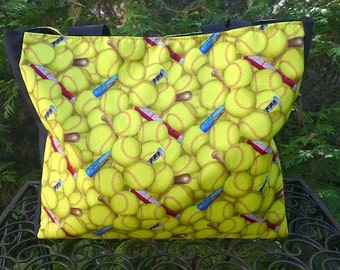 Softball tote bag, The medium Fleur wide
