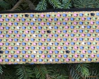 """Sheep knitting needle case, paintbrush pouch, up to 14"""" long knitting needle case, Tiny Sheep, The Stitch"""
