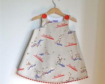 Home Run Baseball Game Girls Dress | American League Baseball Nostalgia Sports Fan Dress | Newborn Baby to Girls Size 6 - Daddy & Daughter
