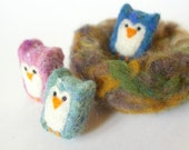 SALE 20% Off Felted Nest with Baby Owls: Handmade Toys for Little Hands (All Natural Wool)