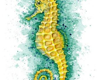 "Yellow Seahorse Watercolor Painting Art Print, Wall Decor sizes 5""x7"", 8""x10"", 11""x14"""