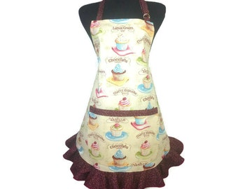 Ruffled Cupcake Apron for women, Adjustalbe with Pocket, Chocolate covered trime, Retro Bakery Decor, Pin Up Girl Kitchen