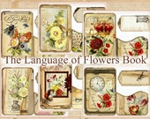 The Language of Flowers Vintage Mini Book Kit with Tags, Pockets INSTANT DOWNLOAD Garden Digital Download