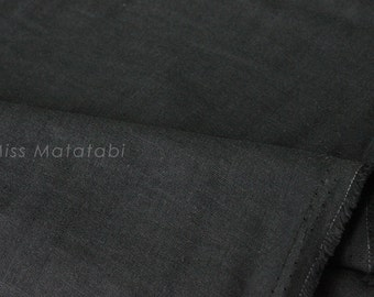 Japanese Fabric - Kobayashi solid TRIPLE gauze - black - 50cm