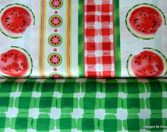 "2 Piece Fat Quarter Bundle Quilt Fabric, Watermelon Slices, Stripes, Green Plaid, ""Mad for Melon"", Maria Kalinowski, Kanvas, Sewing Supplies"