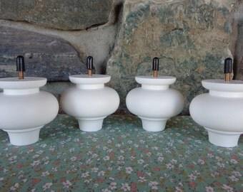 "Set of 4 New Primed White Wood Bun Furniture Sofa Chair Feet Legs 3"" tall 3"" diameter"