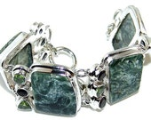 Sale: Green Seraphinite and Sterling Silver Bracelet
